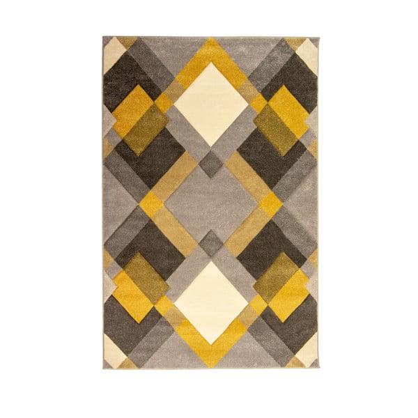 Nimbus Ochre szürke-sárga szőnyeg, 120 x 170 cm - Flair Rugs