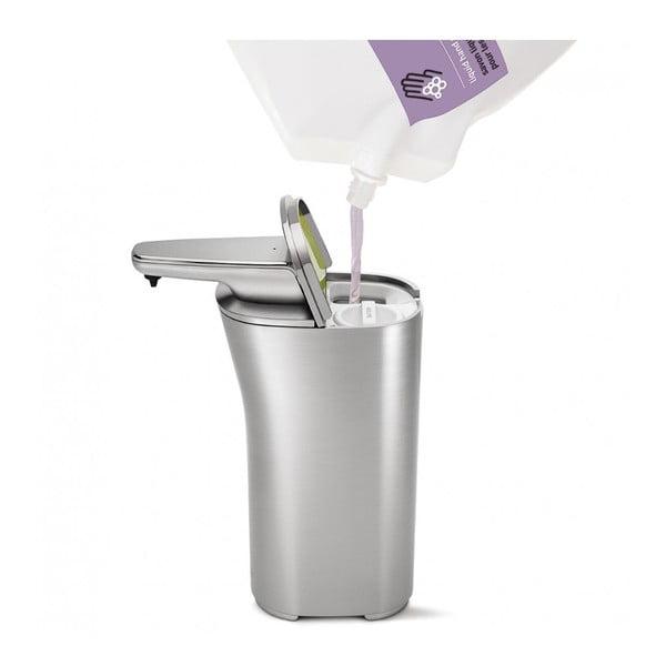 Stříbrný bezdotykový dávkovač mýdla simplehuman Compact