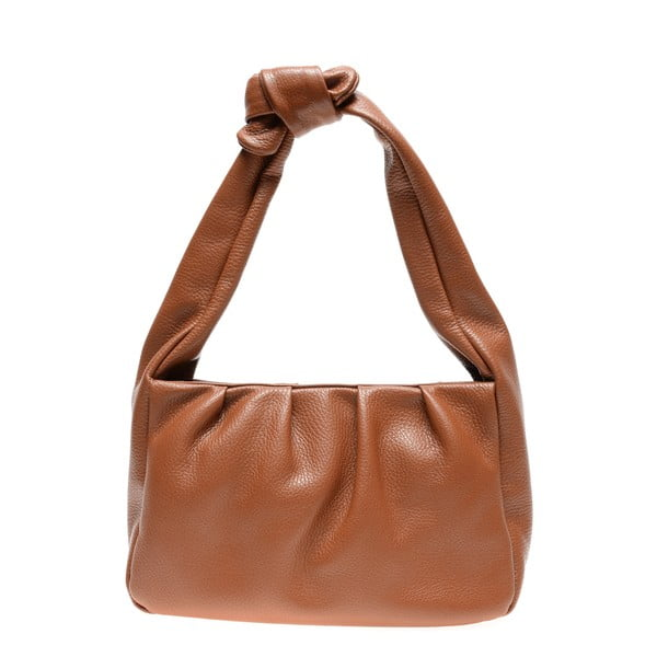 Hnědá kožená kabelka Carla Ferreri