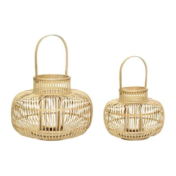 Komplet 2 bambusowych lampionów Hübsch Bamboo