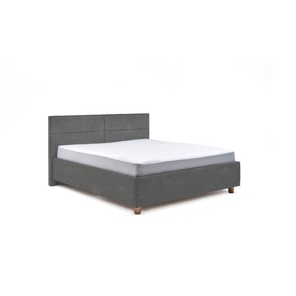 Světle šedá dvoulůžková postel s roštem a úložným prostorem ProSpánek Grace, 160 x 200 cm