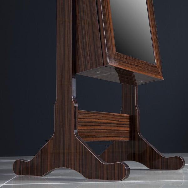 Uzamykatelné stojací zrcadlo se šperkovnicí Da Vinci, ebenové