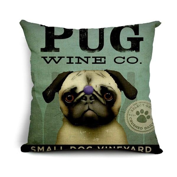 Povlak na polštář Pug Wine, 45x45 cm