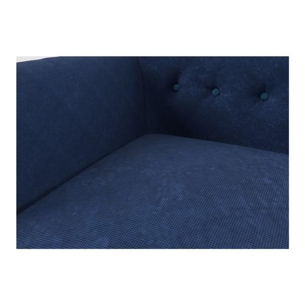 Sedačka Indigo pro dva, tmavě modrá se světle modrými knoflíky