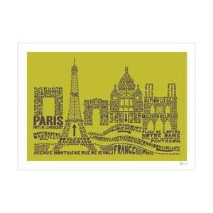 Plakát Paris Green&Grey, 50x70 cm