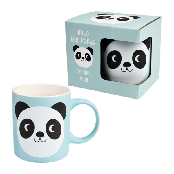 Cană din ceramică Rex London Miko The Panda, 350 ml, albastru