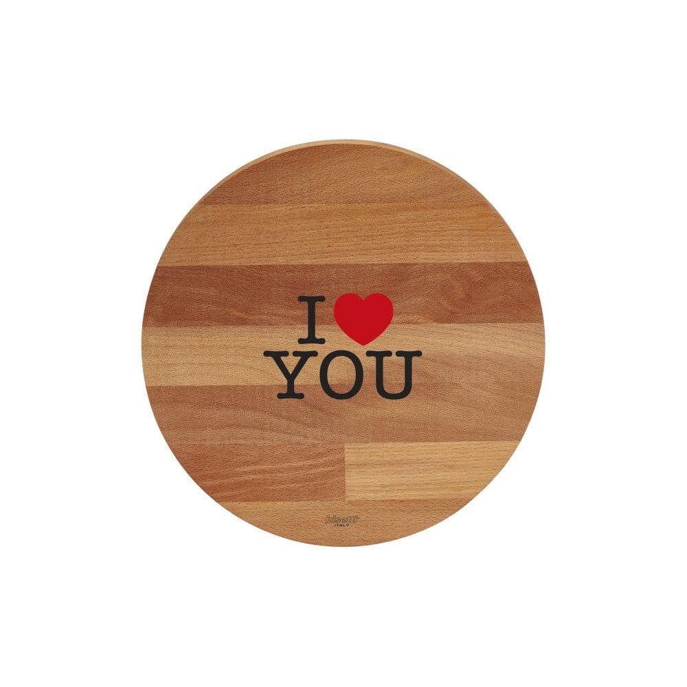 Prkénko z bukového dřeva Bisetti I Love You, 30 cm