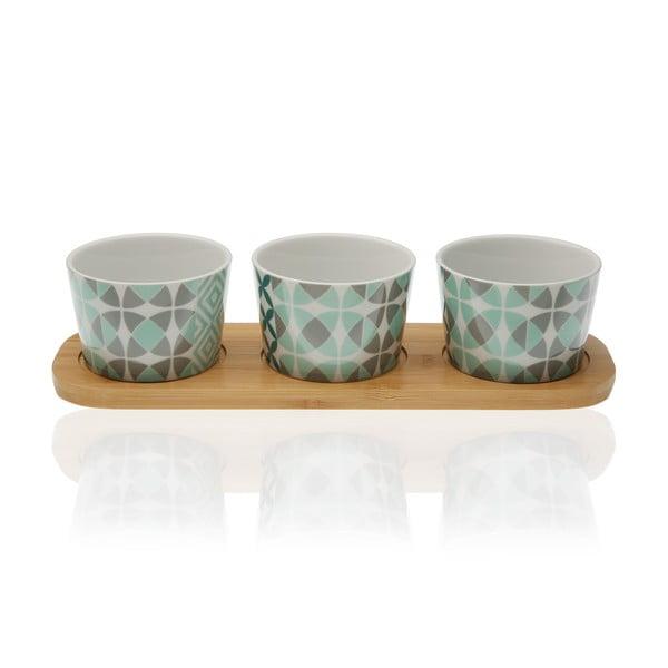 Sada 3 porcelánových mističek a bambusového podtácku Versa Aquamarina