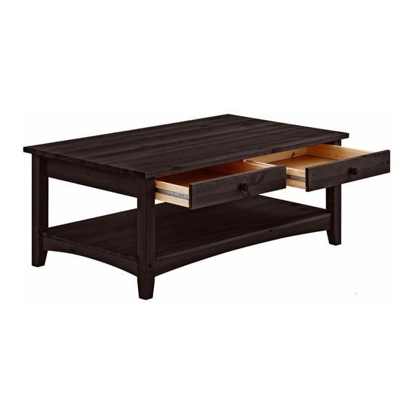 Tmavě hnědý konferenční stůl se šuplíky z masivního borovicového dřeva Støraa Chub L