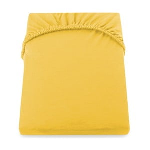 Žluté elastické prostěradlo DecoKing Amber Collection, 120-140 x 200 cm