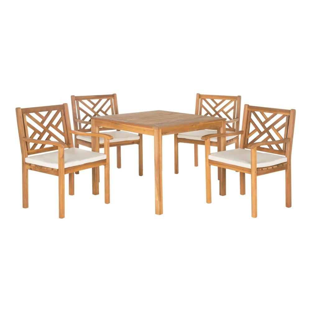 Set zahradního stolu a židlí z akáciového dřeva Safavieh Mendoza