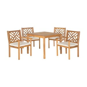 Hnědý set dřevěného venkovního stolu a židlí Safavieh Mendoza