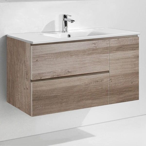 Koupelnová skříňka s umyvadlem a zrcadlem Happy, dekor dubu, 100 cm