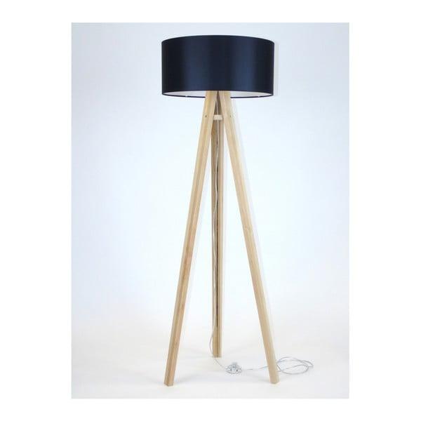 Wanda állólámpa fekete lámpabúrával és átlátszó kábellel - Ragaba