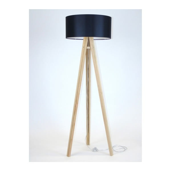 Lampadar cu abajur negru și cablu transparent Ragaba Wanda