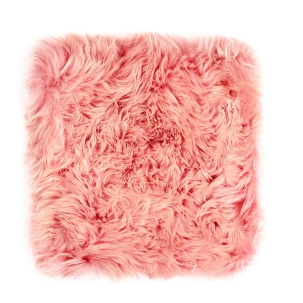 Růžový podsedák z ovčí kožešiny na jídelní židli Royal Dream Zealand, 40x40cm
