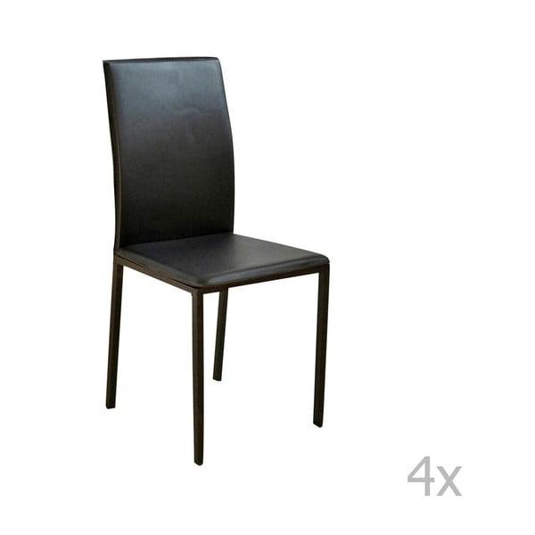 Sada 4 černých jídelních židlí s potahem z eko kůže Evergreen House Villy
