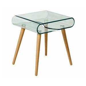 Skleněný odkládací stolek s nohami z bukového dřeva Evergreen House Esidra