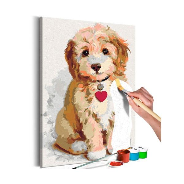 DIY set na tvorbu vlastného obrazu na plátne Artgeist Puppy, 40 × 60 cm
