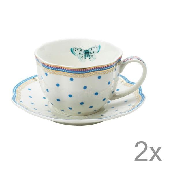 Porcelánový šálek s podšálkem Dottie od Lisbeth Dahl, 2 ks