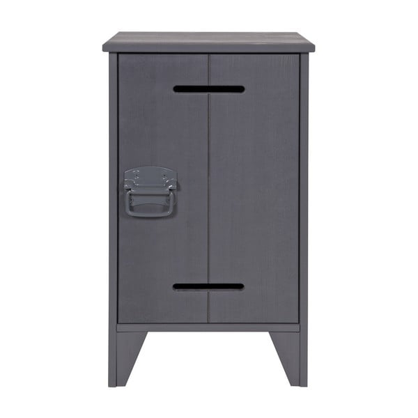 Tmavě šedý borovicový noční stolek WOOOD Kluis
