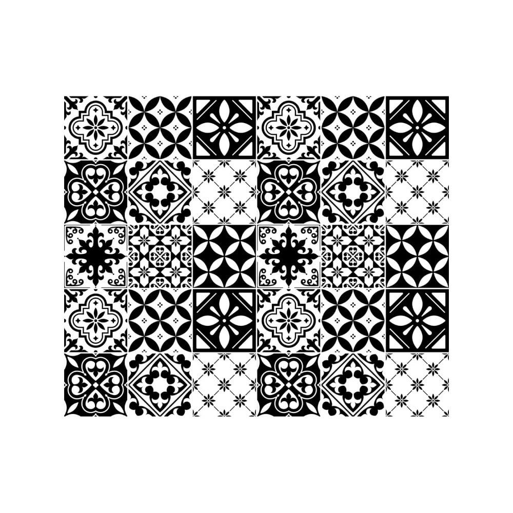 Sada 30 nástěnných samolepek Ambiance Decal Tiles Azulejos Rosario, 10 x 10 cm