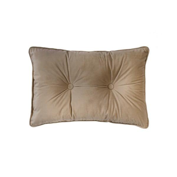 Jasnobrązowa poduszka Tiseco Home Studio Velvet Button, 40x60 cm