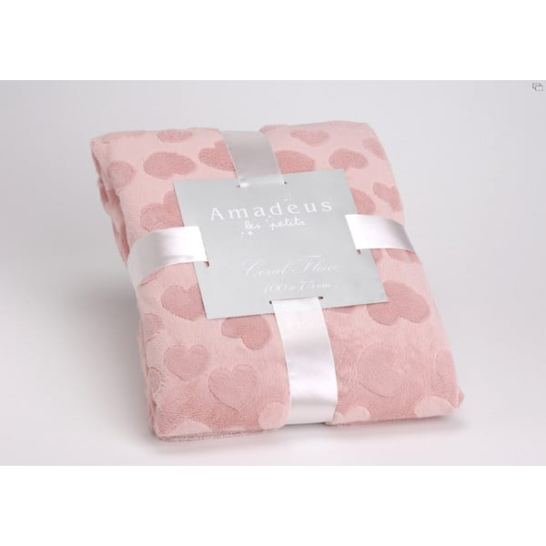 Deka Pink Heart, 100x75 cm