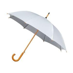 Bílý deštník sdřevěným madlem Ambiance Wooden, ⌀102cm