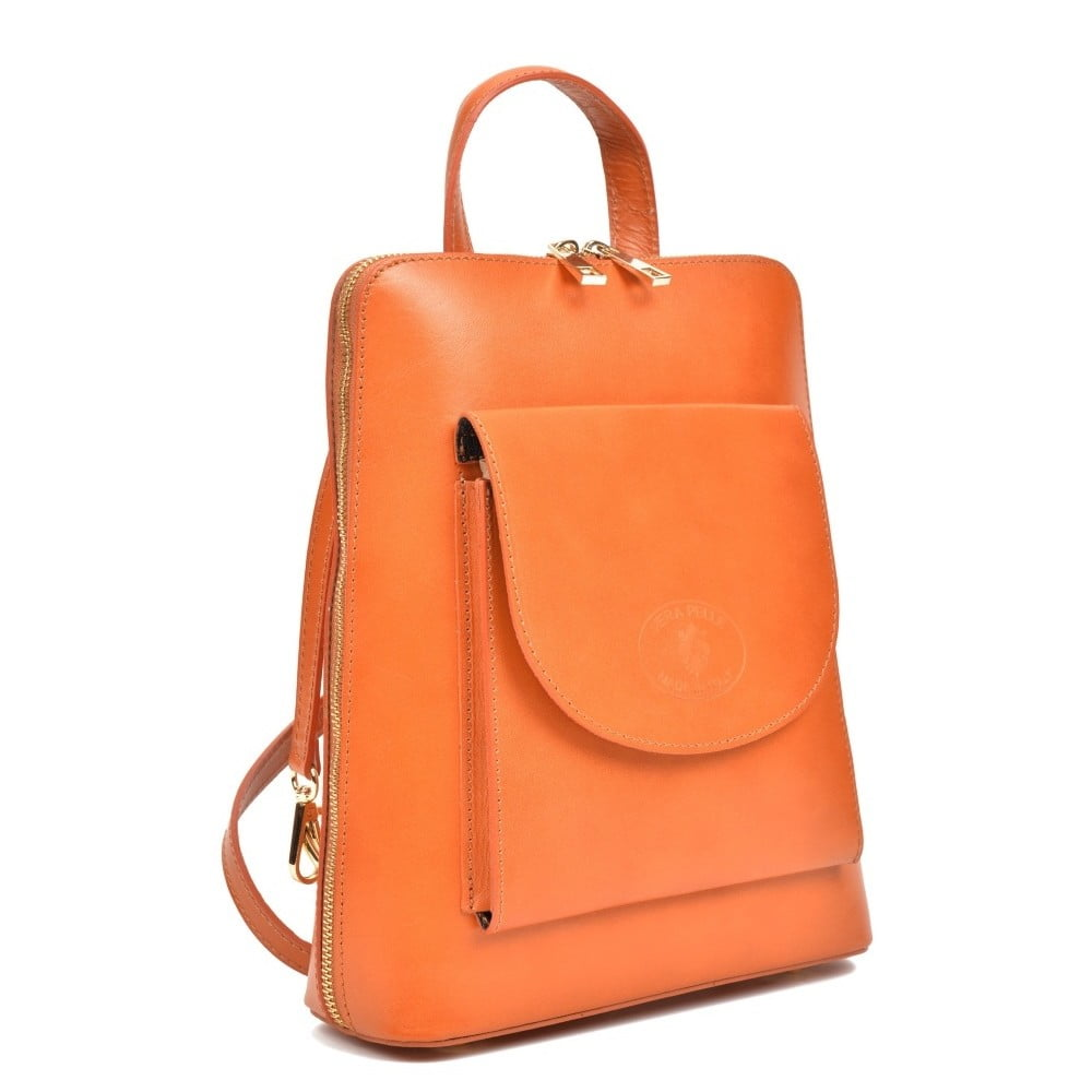Koňakově hnědý kožený batoh Anna Luchini Zunna ... e63fa44597