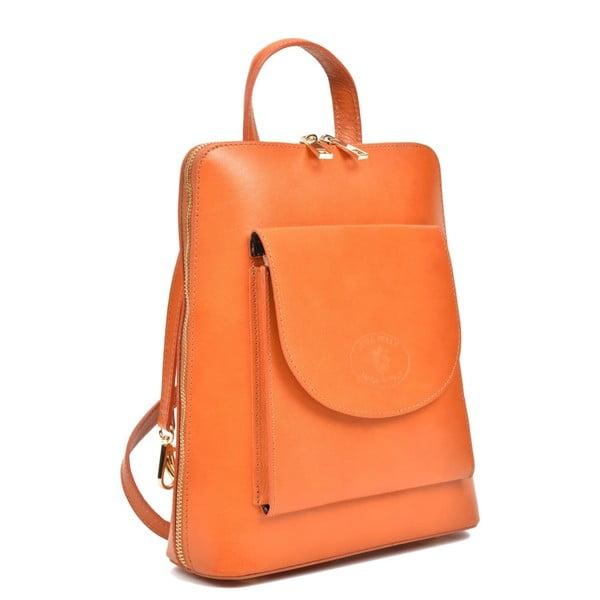 Koňakově hnědý kožený batoh Anna Luchini Zunna