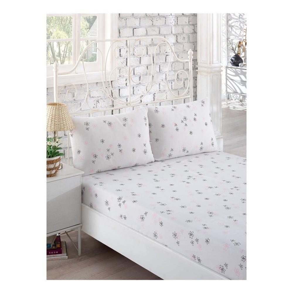 Set bílého elastického prostěradla a 2 povlaků na polštáře na jednolůžko Softy, 160 x 200 cm