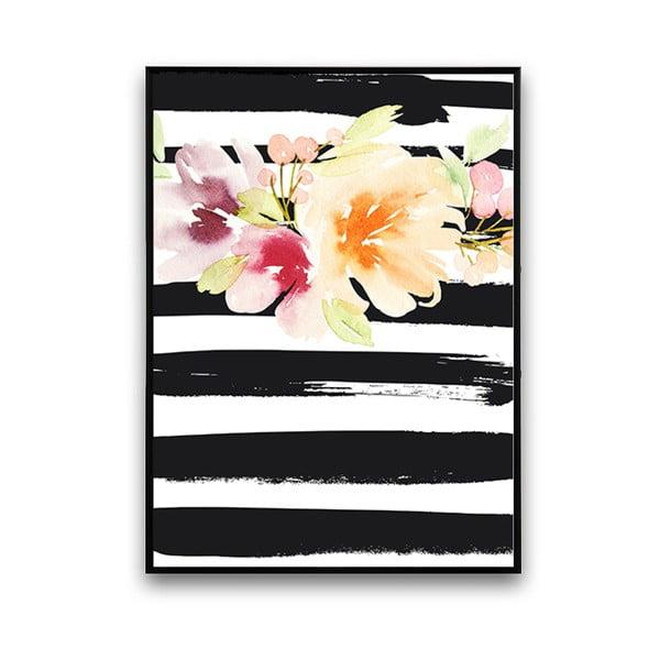 Plakát s květinami, černo-bílé pruhované pozadí, 30 x 40 cm
