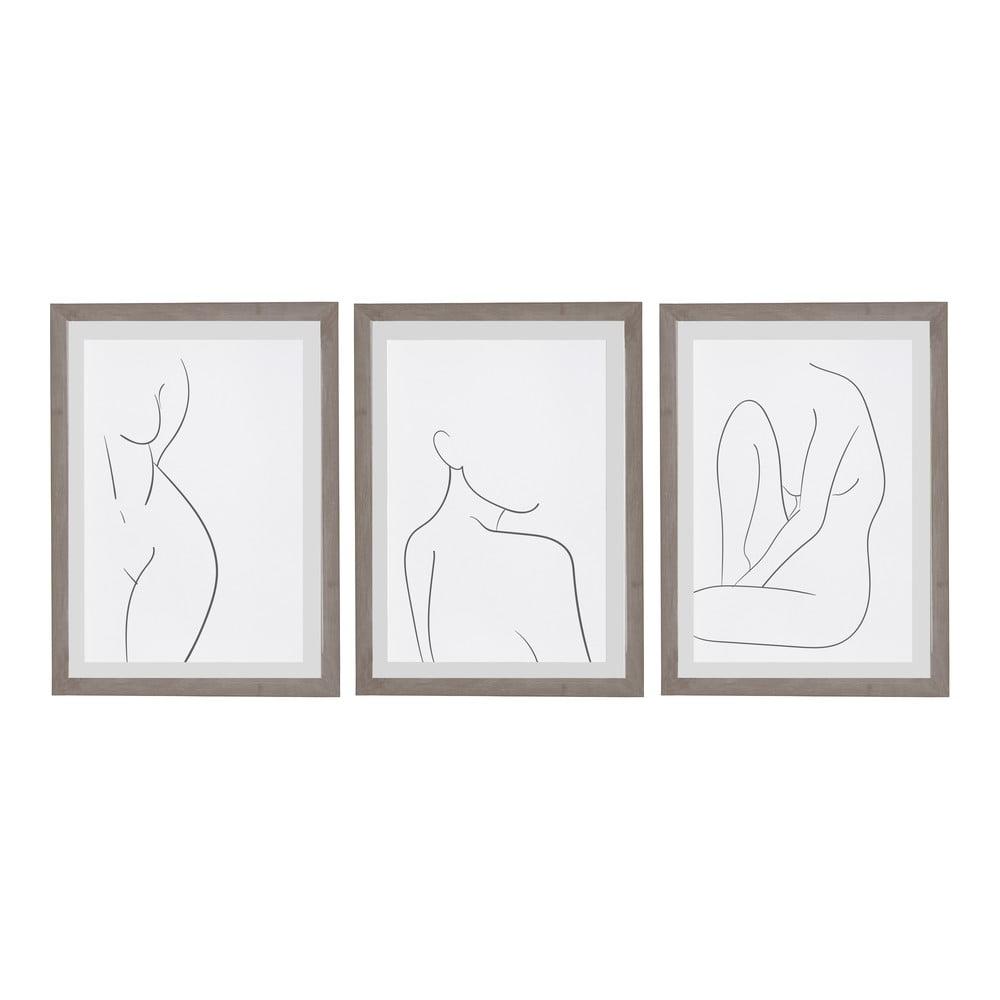 Sada 3 nástěnných obrazů v rámu Surdic Body Studies, 30 x 40 cm