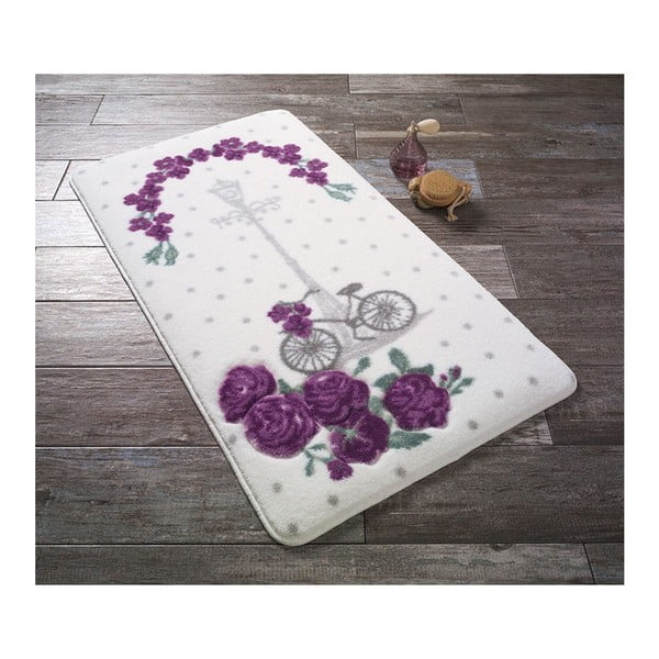 Bílá předložka do koupelny s fialovými květinami Confetti Bathmats Vintage Bike, 57 x 100 cm