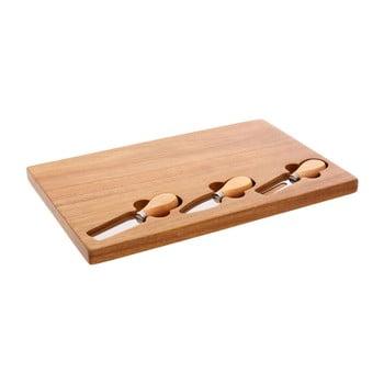 Set tocător din lemn de arbore de cauciuc și 3 cuțite pentru brânzeturi Premier Housewares, 23 x 37 cm