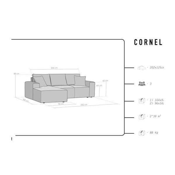 Tmavě šedá 3místná pohovka HARPER MAISON Cornelia, levý roh