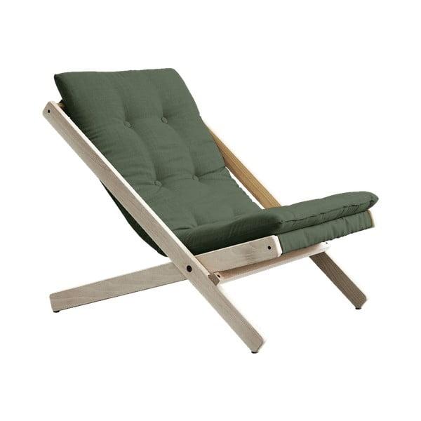 Oliwkowy fotel rozkładany z drewna bukowego Karup Design Boogie Olive Green, 60x115 cm