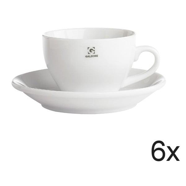 Sada 6 šálků s podšálem Bianco, 9x6,5 cm