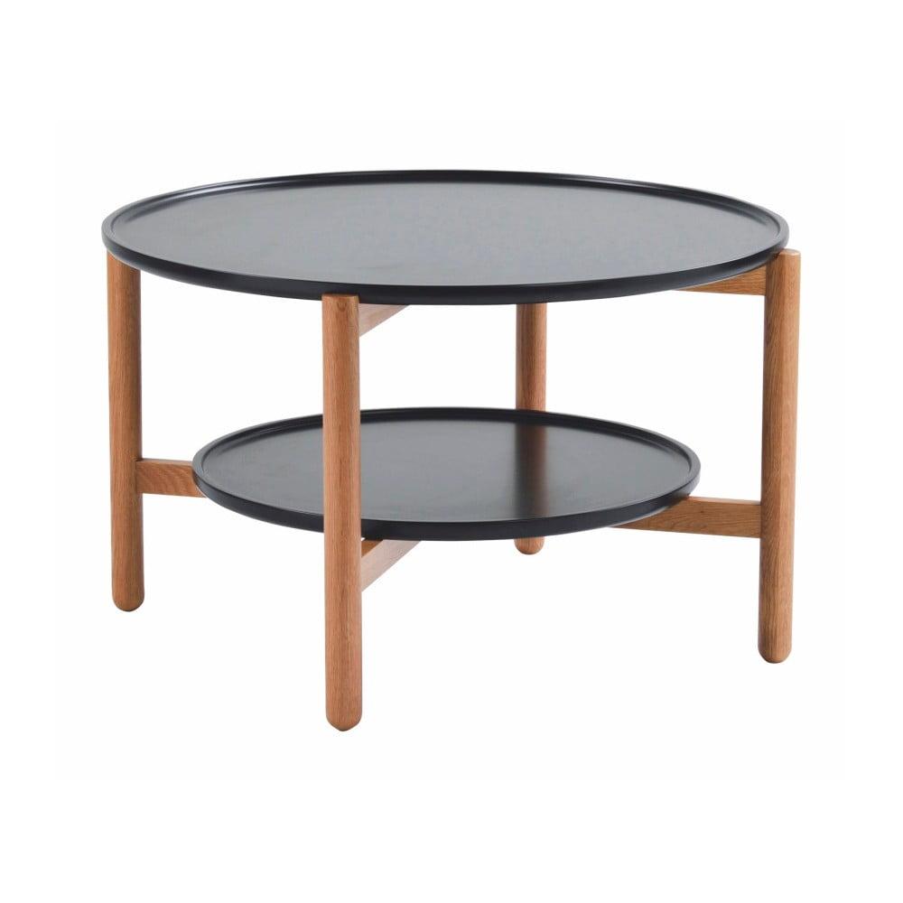Černý dubový stolek Folke Wendigo, ⌀ 80 cm
