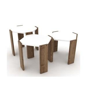 Sada 3 stohovatelných odkládacích stolků s bílým detailem Rafevi Hansel