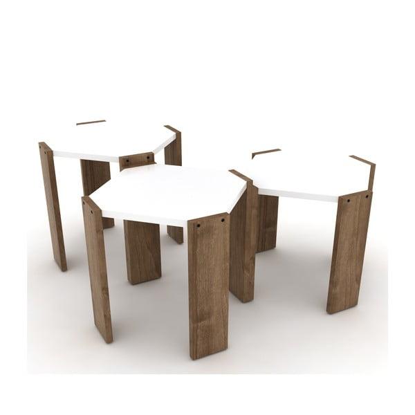Zestaw 3 stolików z białym blatem Rafevi Hansel