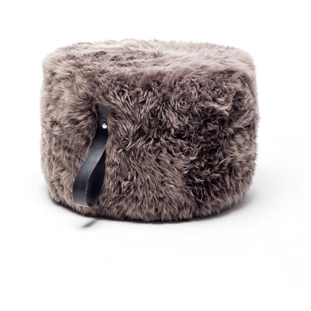 Hnědý puf z ovčí kožešiny s černým detailem Royal Dream,Ø60cm