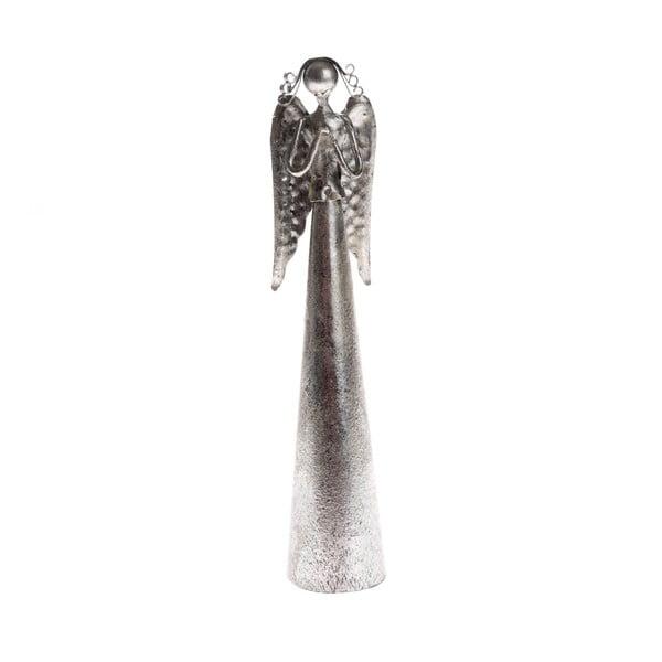 Metalowa dekoracja w kształcie modlącego się anioła Dakls, wys. 16,5 cm