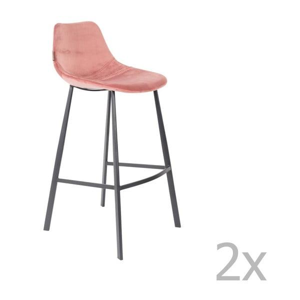 Set 2 scaune bar cu tapițerie catifelată Dutchbone, înălțime 106 cm, roz