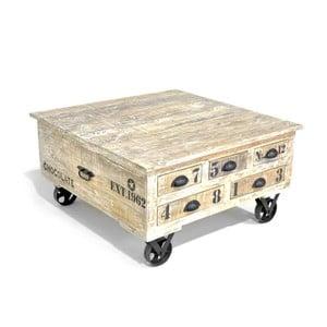 Măsuță pe roți din lemn de mango cu nuanțe de culoare albe Massive Home Aubon