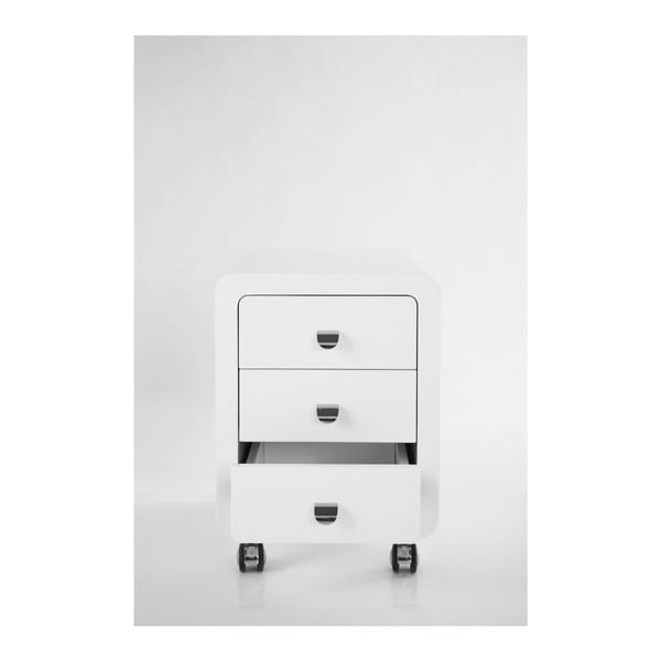 Bílá komoda se 3 zásuvkami na kolečkách Kare Design Club Storage