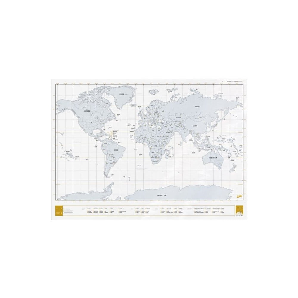 Stírací mapa světa Luckies of London Clear Scratch