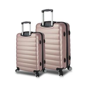 Sada 2 růžových cestovních kufrů na kolečkách s USB porty My Valice RESSNO Large & Medium