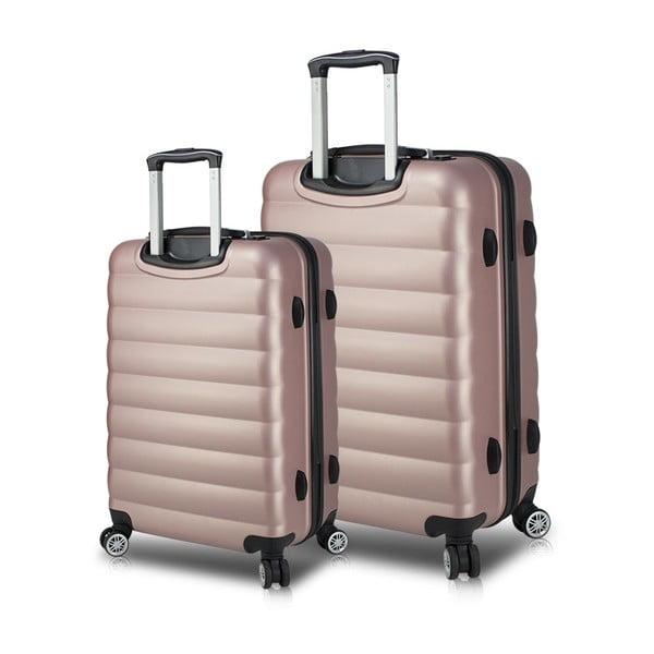 Zestaw 2 różowych walizek na kółkach z USB My Valice RESSNO Large & Medium